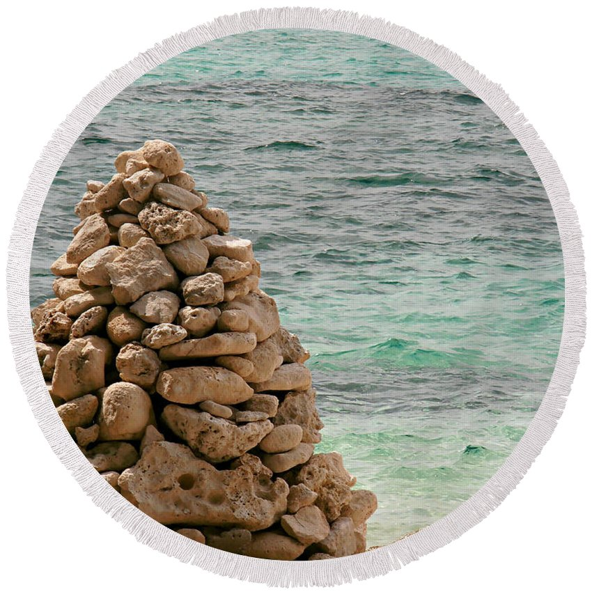 Zen Round Beach Towel featuring the photograph Zen Rocks In Paradise by Kimberly Perry