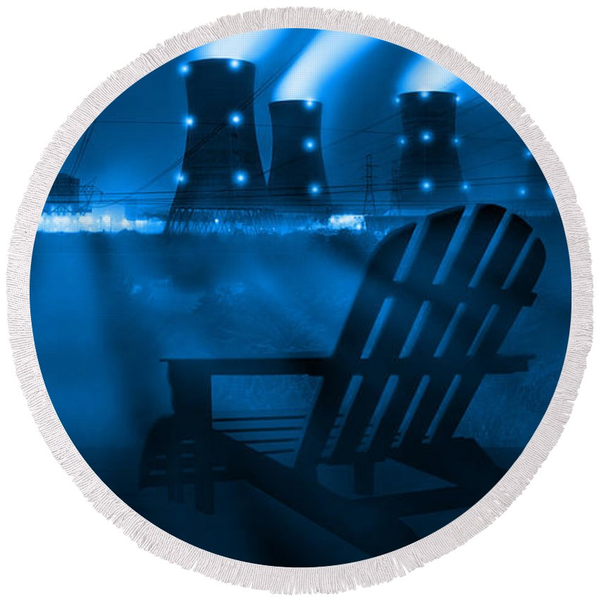 Surrealism Round Beach Towel featuring the photograph Zero Hour In Blue by Mike McGlothlen