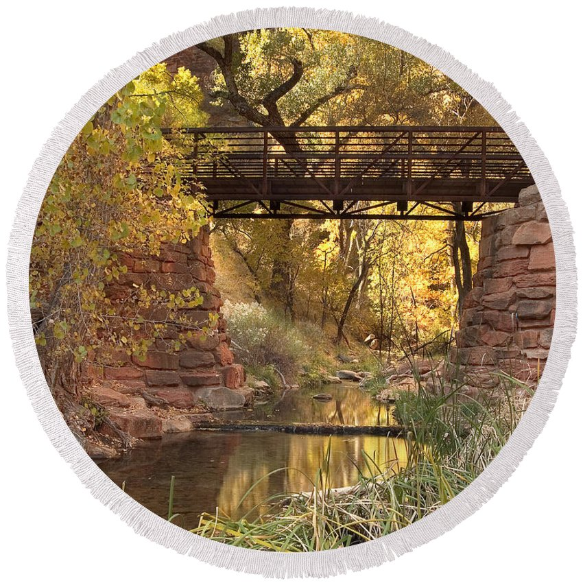 3scape Round Beach Towel featuring the photograph Zion Bridge by Adam Romanowicz