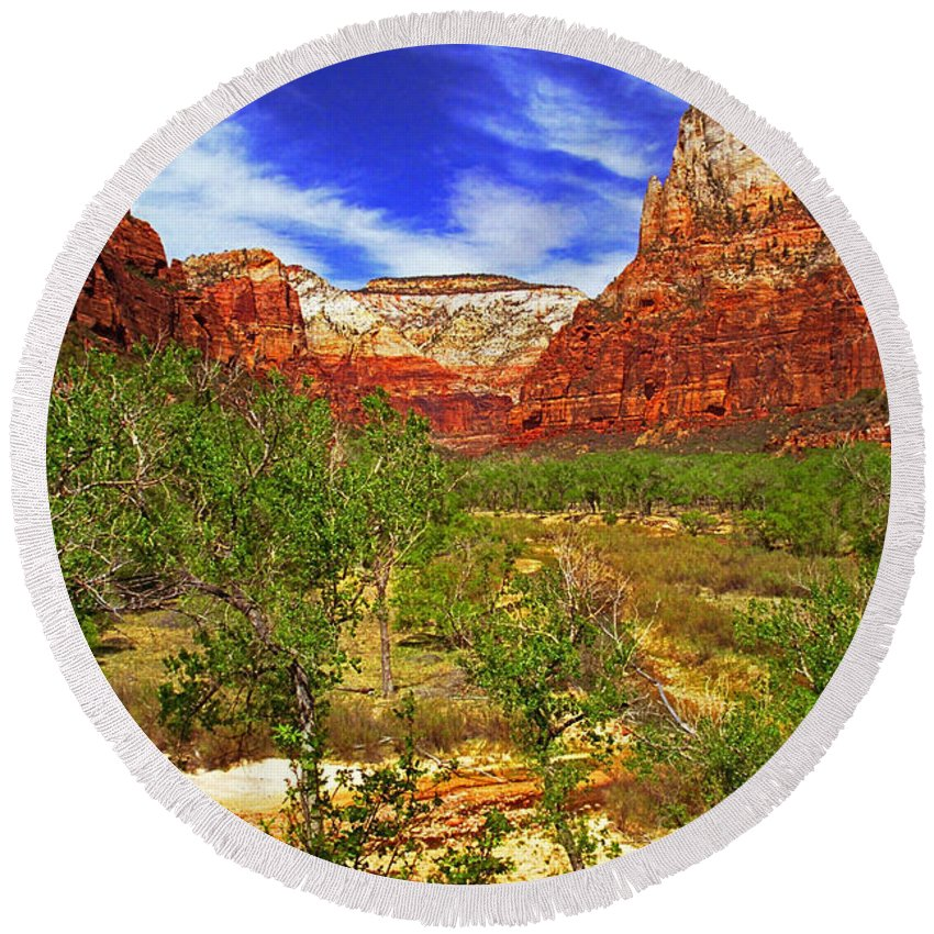 Utah Round Beach Towel featuring the photograph Zion Park Canyon by Rich Walter