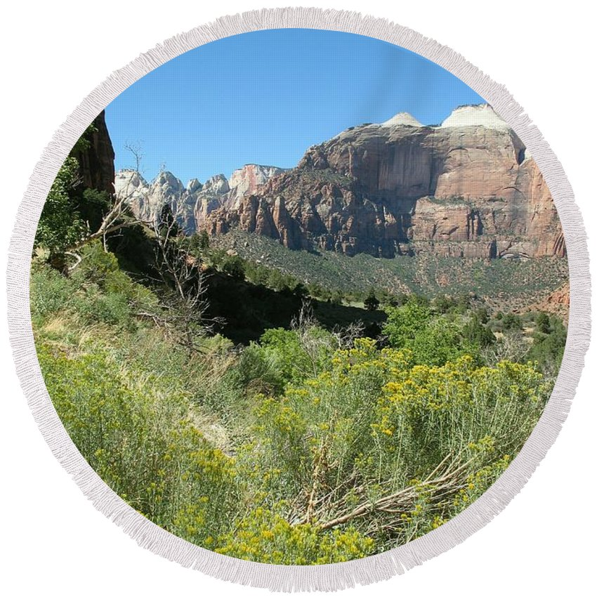 Zion Park Round Beach Towel featuring the photograph Zion Park by Christiane Schulze Art And Photography