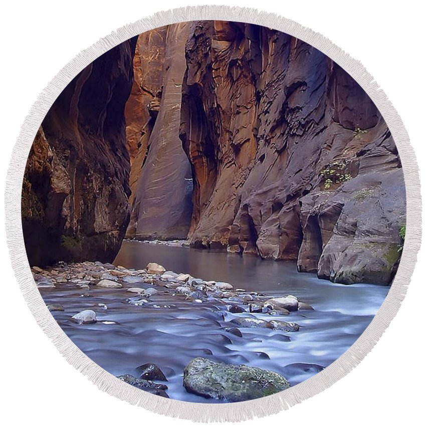 Zion; Canyon; United States; Usa; Southwest; Clouds; America; American; Beauty; Black; Deep; Desert; Environment; Erosion; Formation;  Round Beach Towel featuring the photograph Zions 015 by Ingrid Smith-Johnsen
