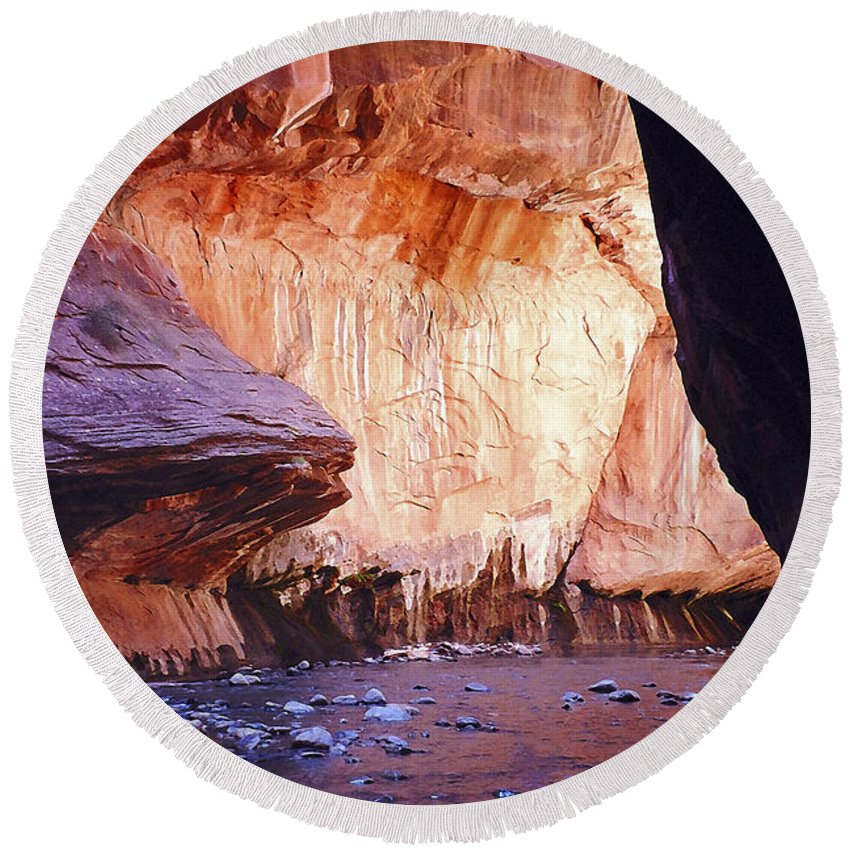Zion; Canyon; United States; Usa; Southwest; Clouds; America; American; Beauty; Black; Deep; Desert; Environment; Erosion; Formation;  Round Beach Towel featuring the photograph Zions 047 by Ingrid Smith-Johnsen