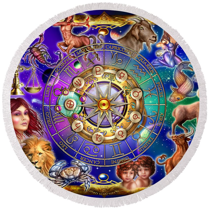 Ciro Marchetti Round Beach Towel featuring the digital art Zodiac 2 by Ciro Marchetti