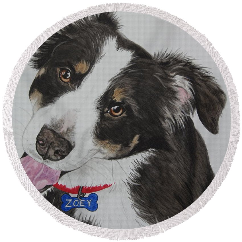 Dog Round Beach Towel featuring the painting Zoey by Megan Cohen