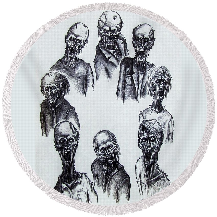 Michael Round Beach Towel featuring the drawing Zombies by Michael TMAD Finney