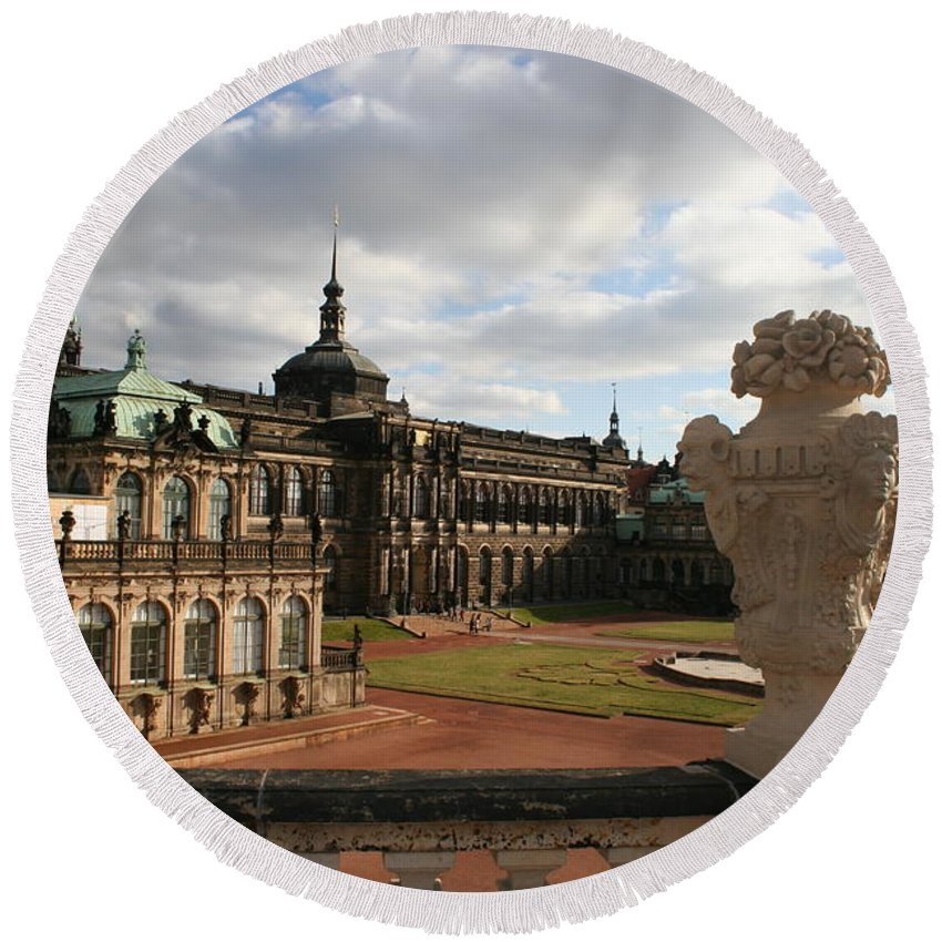 Zwinger Round Beach Towel featuring the photograph Zwinger Dresden - Germany by Christiane Schulze Art And Photography