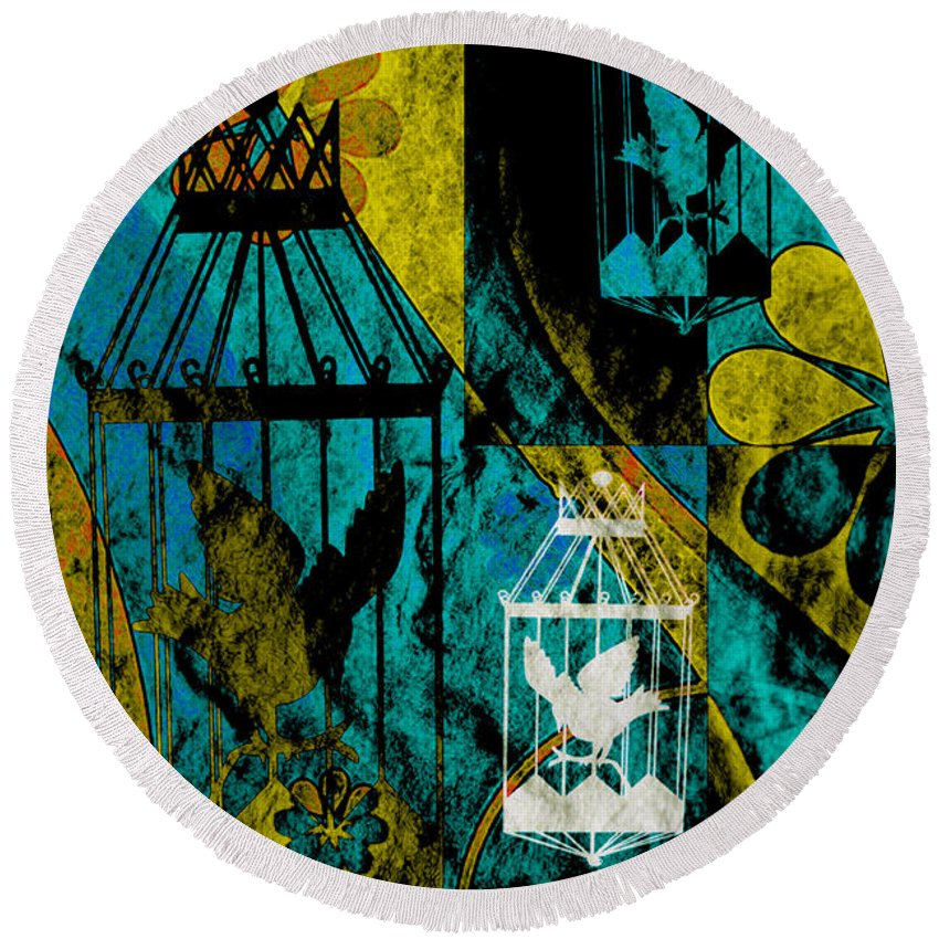 Silhouette Round Beach Towel featuring the mixed media 3 Caged Birds Grunge by Angelina Vick