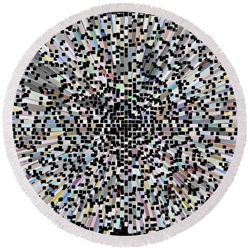 3d Round Beach Towel featuring the digital art 3d Art Abstract by David Pyatt