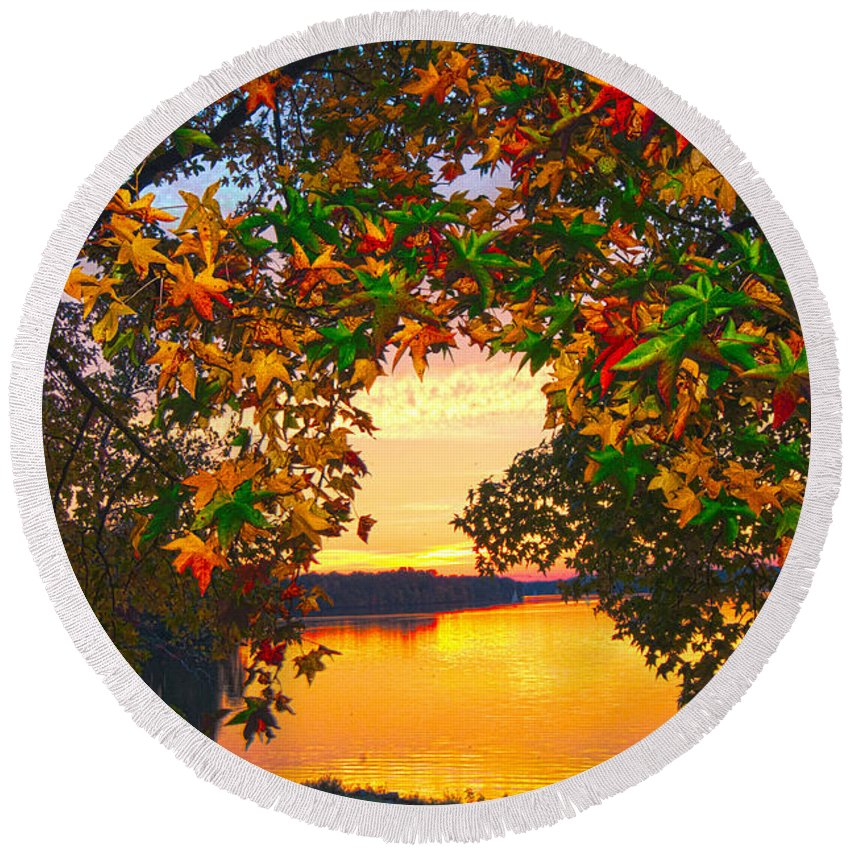 Leaves Round Beach Towel featuring the photograph Autumn Leaves A View by Randall Branham