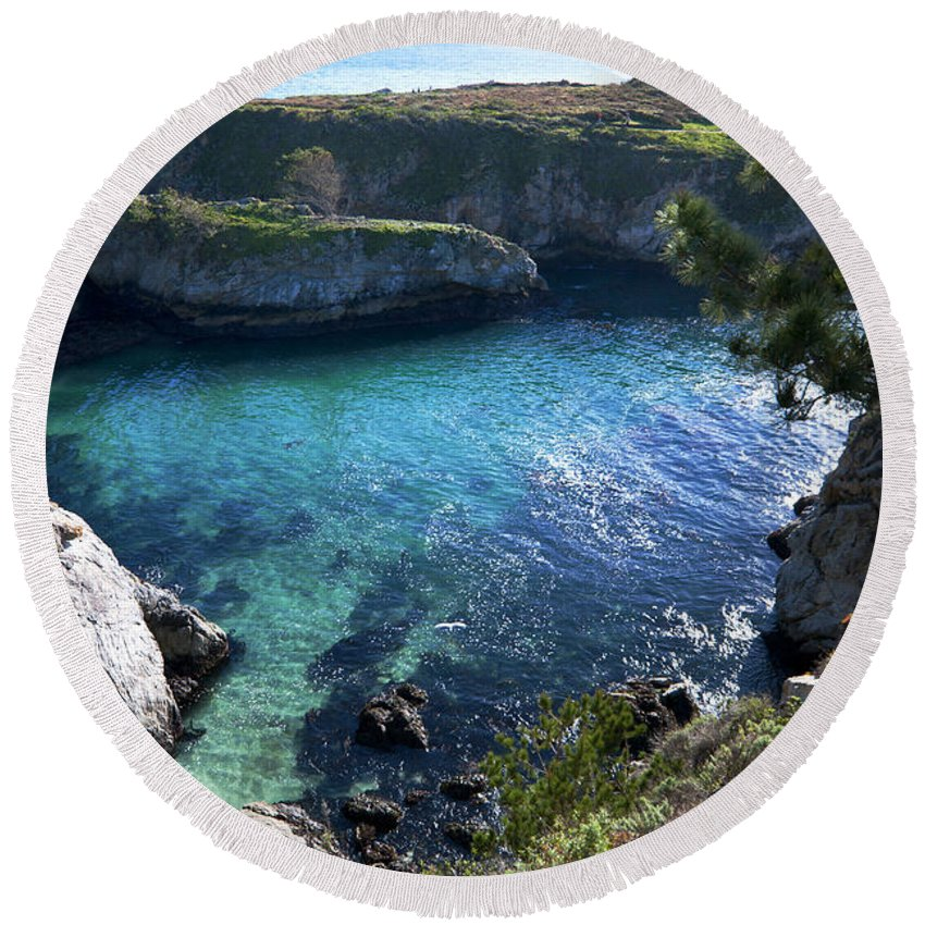 China Cove Round Beach Towel featuring the photograph China Cove by Mike Herdering
