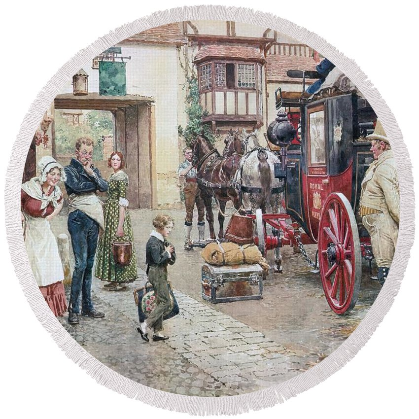 David Copperfield; Goes To School; Charles Dickens; Inn;coach; Salem House; Inn; Lunch; Waiter; Lamb Chops; Beer; Royal Mail; Carriage; Boy Round Beach Towel featuring the painting David Copperfield Goes To School by Fortunino Matania