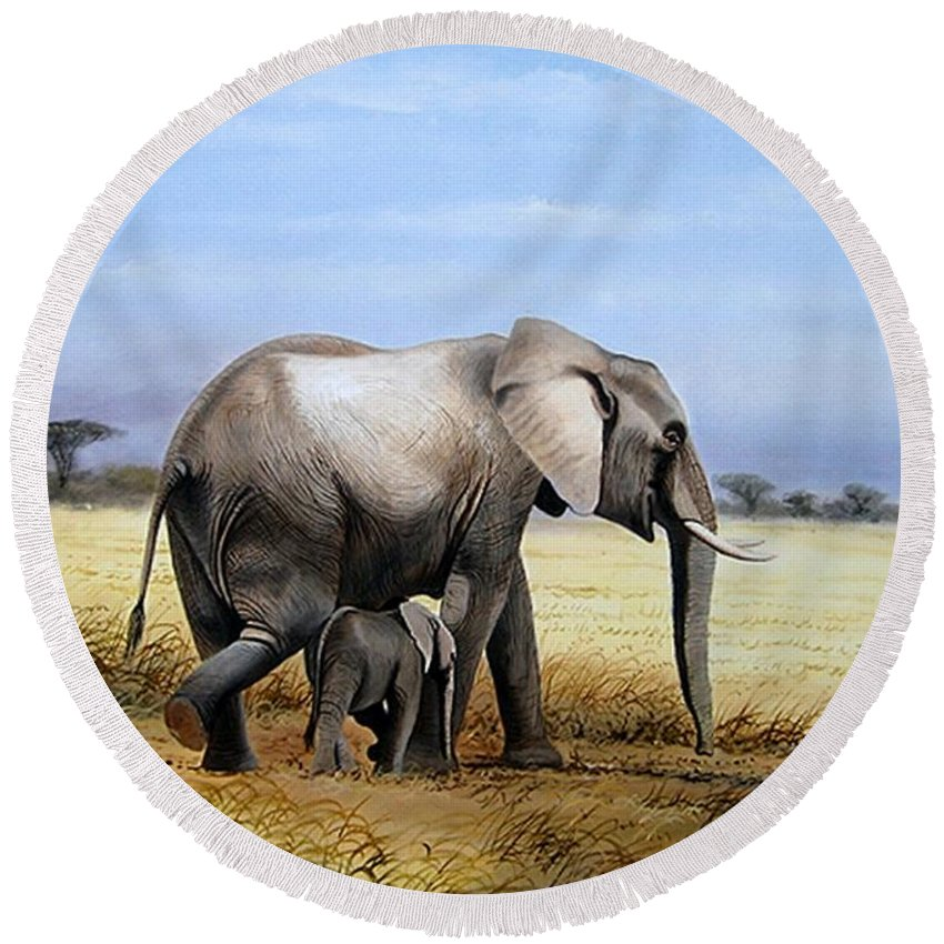 Elephants Round Beach Towel featuring the painting Elephant And Her Child by Francis Njoroge