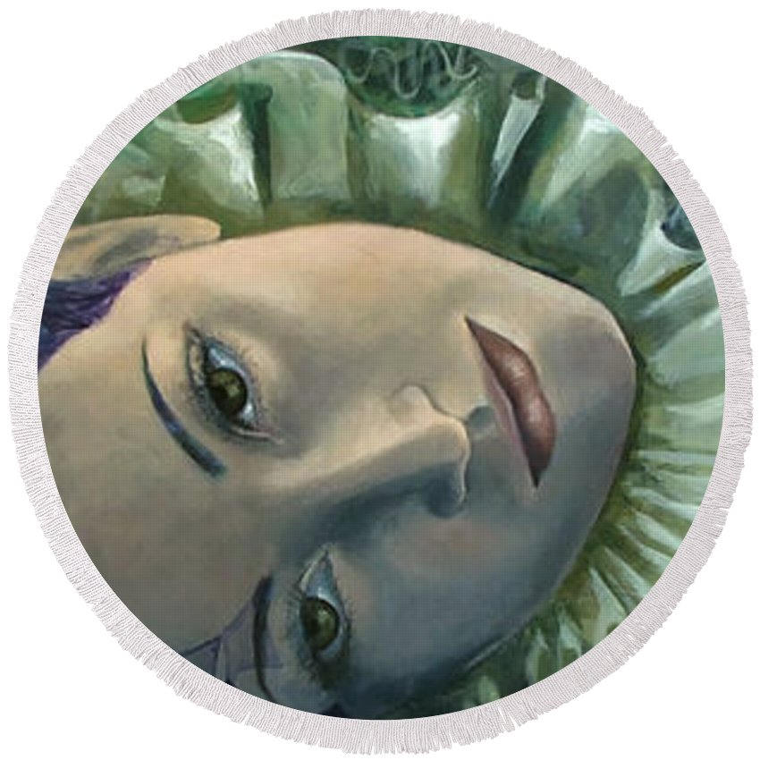 Round Beach Towel featuring the painting Endless Story by Dorina Costras