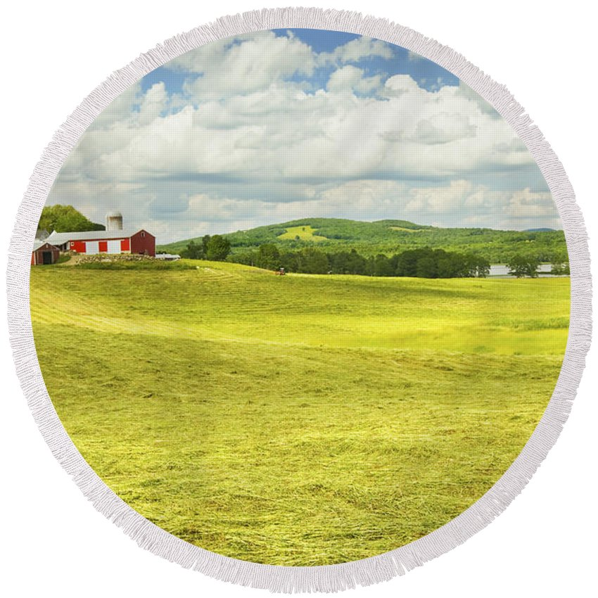 Farm Round Beach Towel featuring the photograph Hay Harvesting In Field Outside Red Barn Maine by Keith Webber Jr