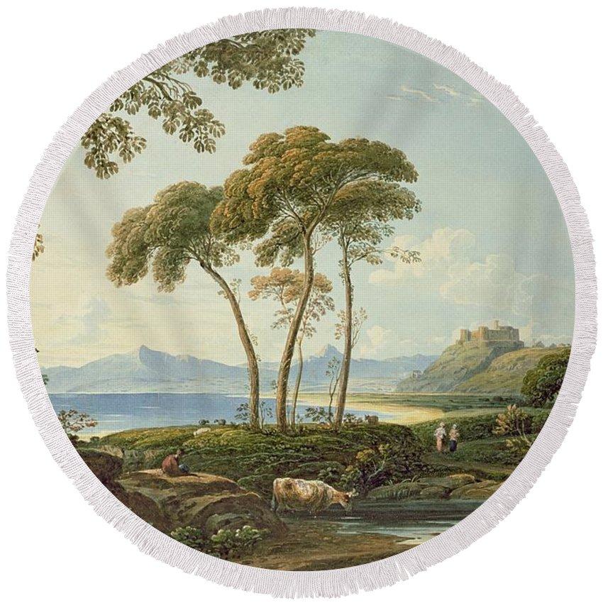 Landscape With Harlech Castle Round Beach Towel featuring the painting Landscape With Harlech Castle by John Varley