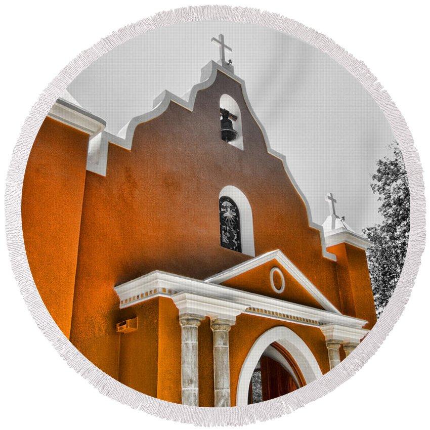 Church Round Beach Towel featuring the photograph  Mexico Church by Douglas Barnard