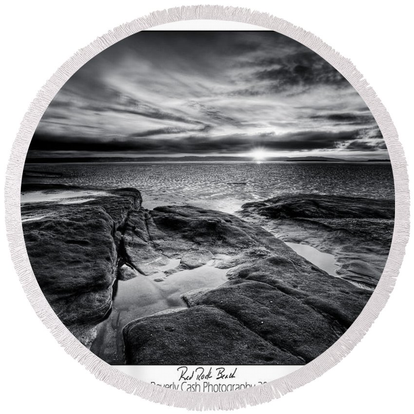 Black And White Round Beach Towel featuring the photograph Red Rock Beach by Beverly Cash