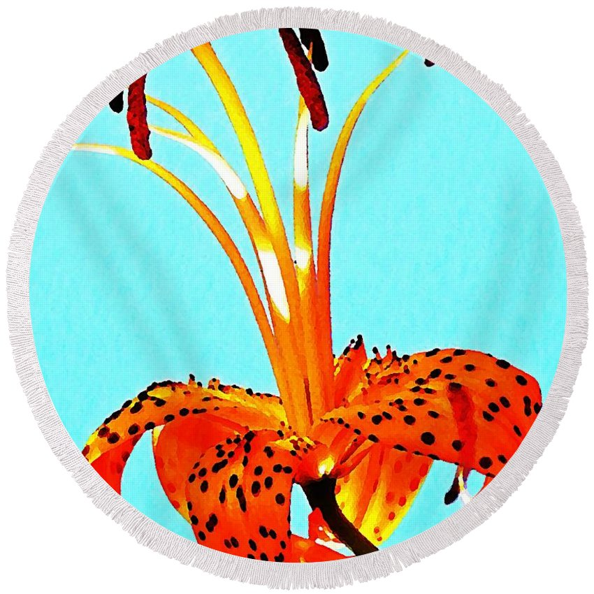 Nature Round Beach Towel featuring the photograph Turquoise And Tiger Lily by Chris Berry