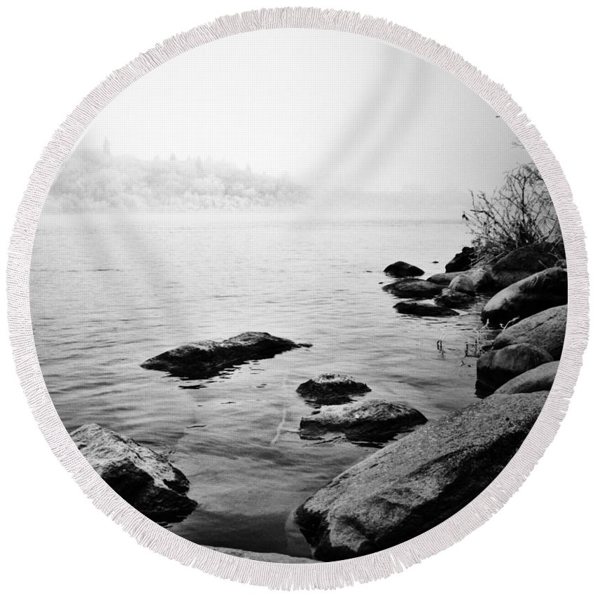 Black And White Photographer Round Beach Towel featuring the photograph Whispering Docks by The Artist Project