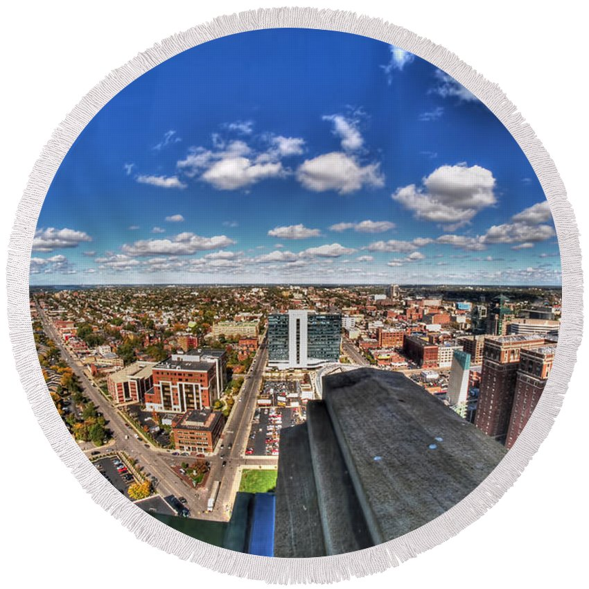 Round Beach Towel featuring the photograph 0017 Autumn Days Of Buffalo Ny Birds Eye by Michael Frank Jr
