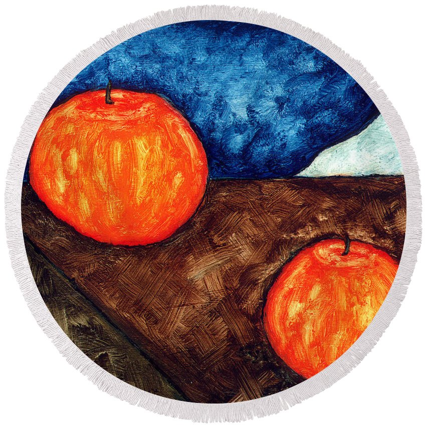 Still Life Round Beach Towel featuring the painting Still Life With Apples I by Brian Bingham