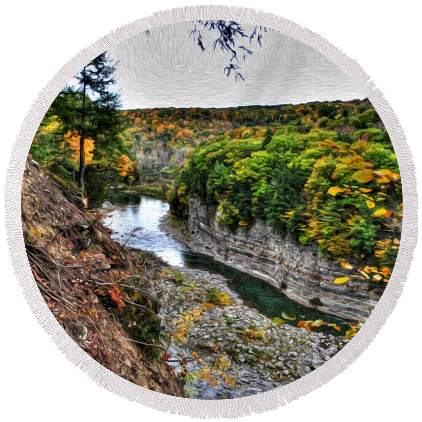 Round Beach Towel featuring the photograph 0023 Letchworth State Park Series by Michael Frank Jr