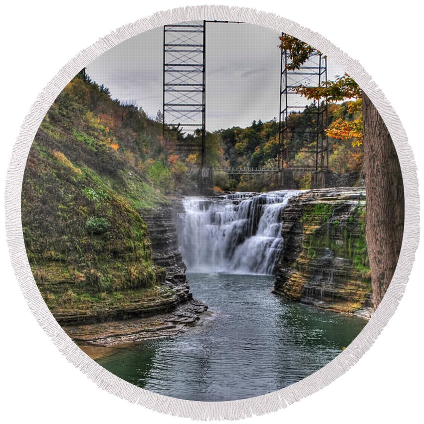 Round Beach Towel featuring the photograph 0024 Letchworth State Park Series by Michael Frank Jr