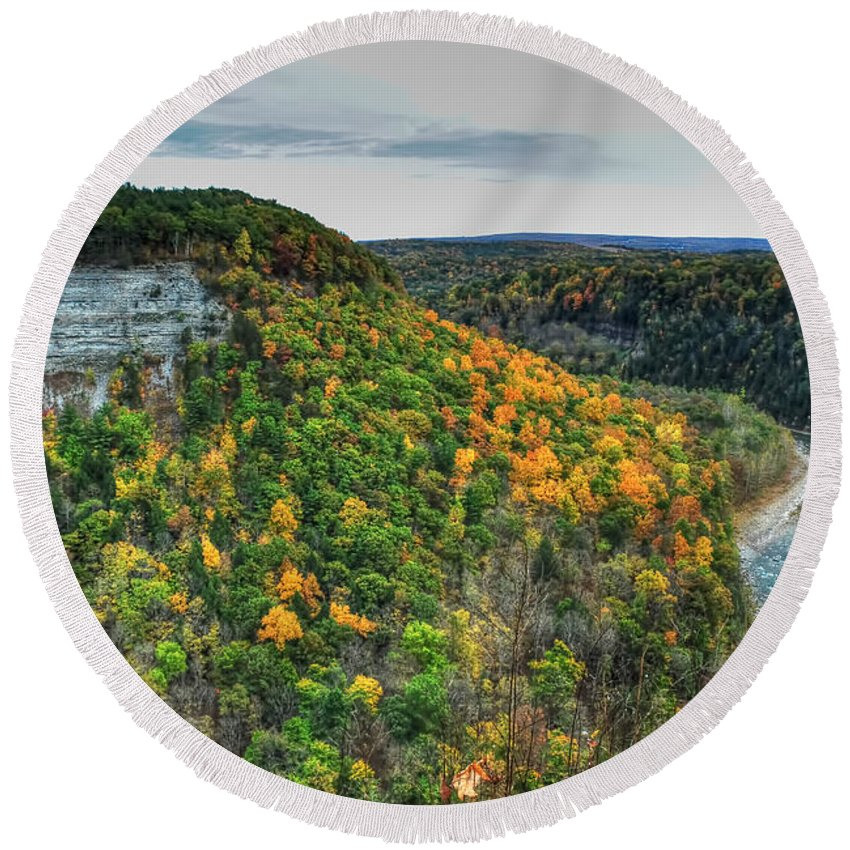 Round Beach Towel featuring the photograph 0025 Letchworth State Park Series  by Michael Frank Jr