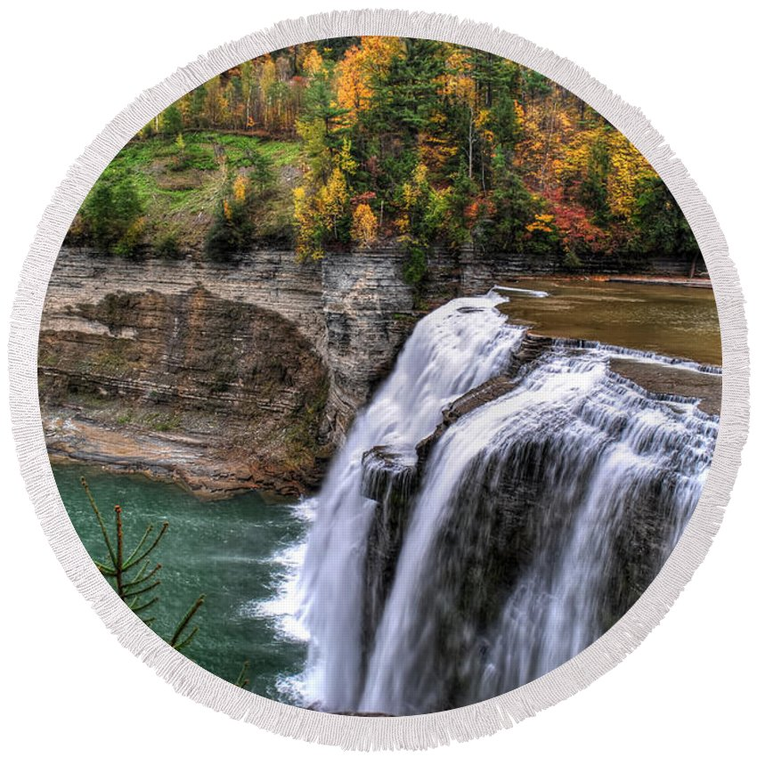 Round Beach Towel featuring the photograph 0033 Letchworth State Park Series by Michael Frank Jr