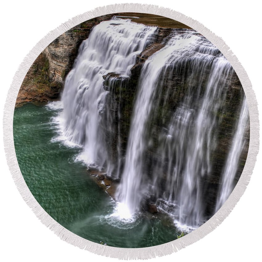 Round Beach Towel featuring the photograph 0037 Letchworth State Park Series by Michael Frank Jr