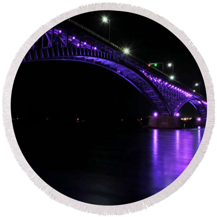 Round Beach Towel featuring the photograph 004 Peace Bridge Honoring Breast Cancer 2012 Series by Michael Frank Jr