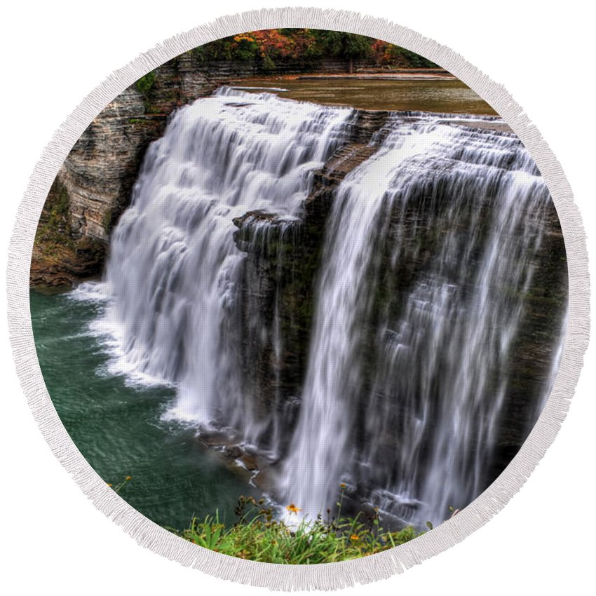 Round Beach Towel featuring the photograph 0043 Letchworth State Park Series by Michael Frank Jr