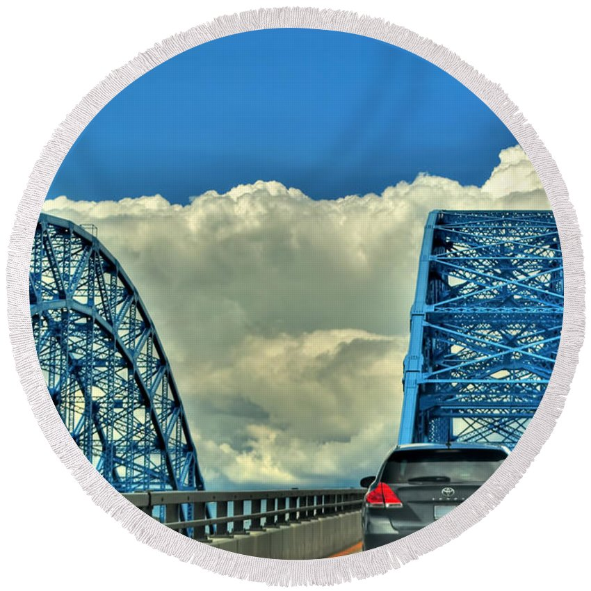 Round Beach Towel featuring the photograph 005 Grand Island Bridge Series by Michael Frank Jr