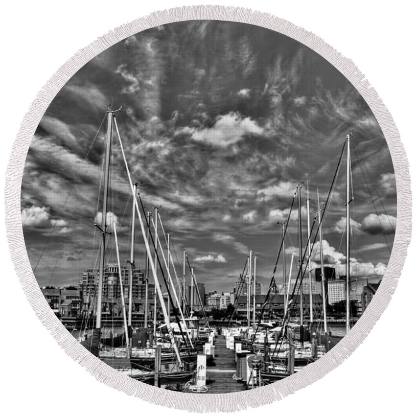 Round Beach Towel featuring the photograph 007bw On A Summers Day Erie Basin Marina Summer Series by Michael Frank Jr