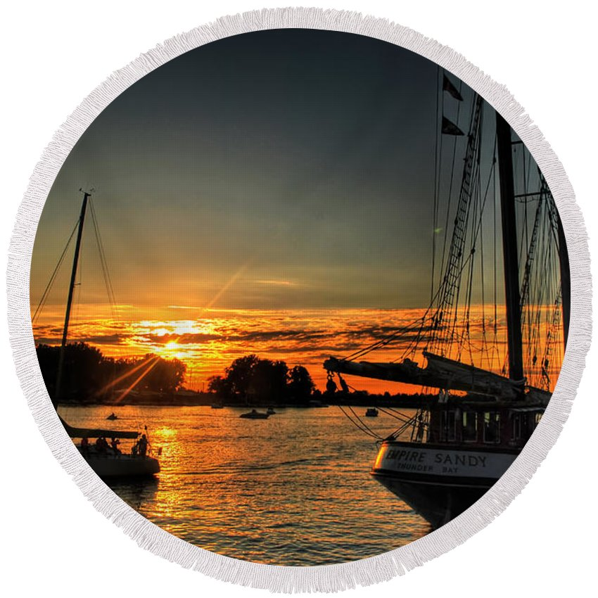 Round Beach Towel featuring the photograph 011 Empire Sandy Series by Michael Frank Jr