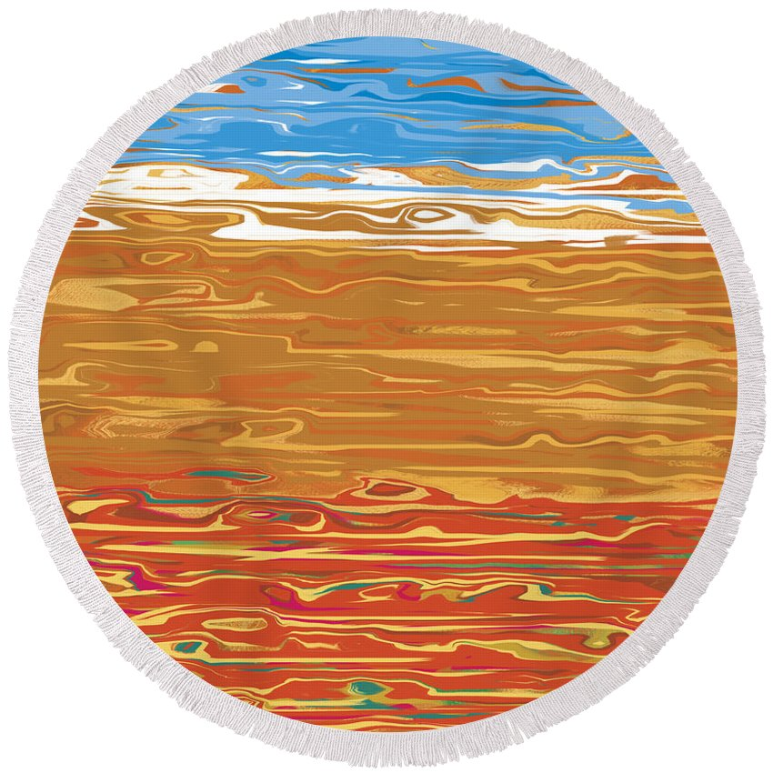 Digital Art Round Beach Towel featuring the digital art 0145 Abstract Landscape by Chowdary V Arikatla