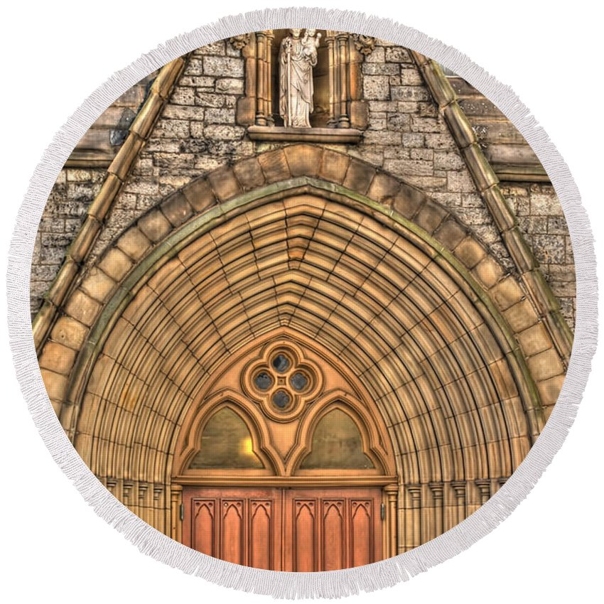 Round Beach Towel featuring the photograph 02 Church Doors by Michael Frank Jr