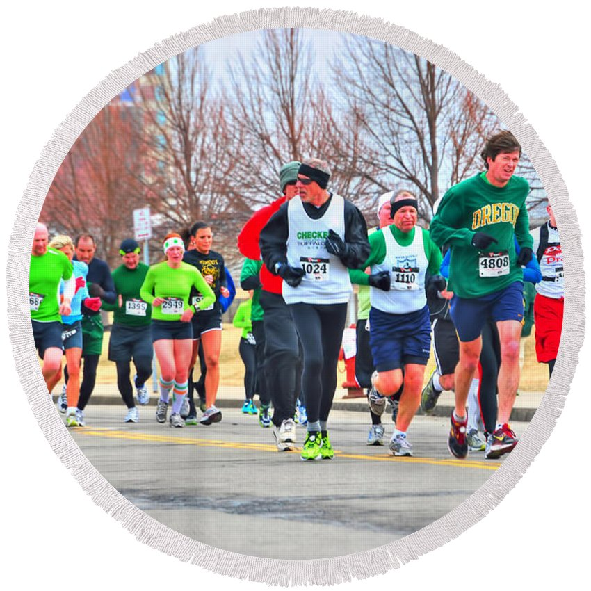 Round Beach Towel featuring the photograph 021 Shamrock Run Series by Michael Frank Jr