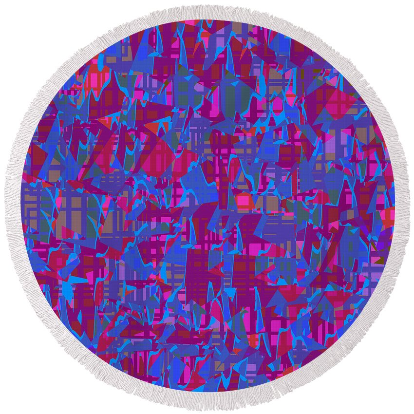 Abstract Round Beach Towel featuring the digital art 0671 Abstract Thought by Chowdary V Arikatla