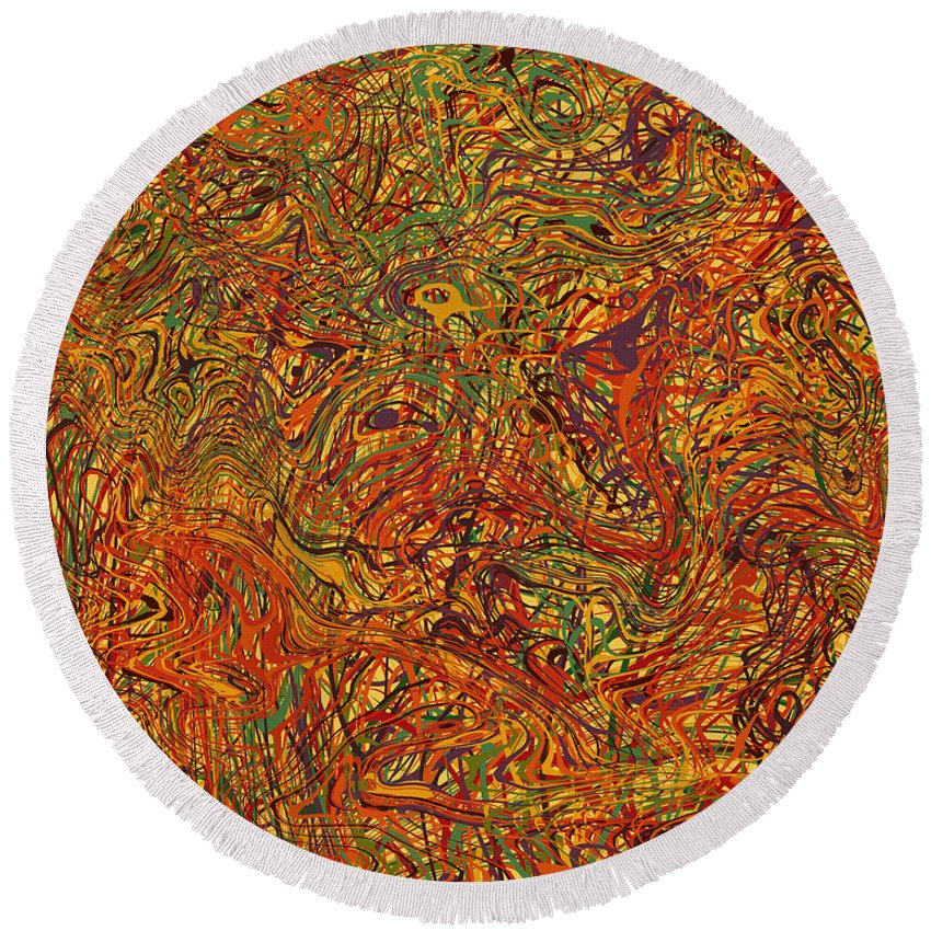Abstract Round Beach Towel featuring the digital art 0700 Abstract Thought by Chowdary V Arikatla