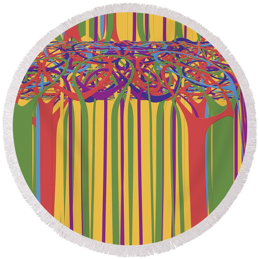 Abstract Round Beach Towel featuring the digital art 0706 Abstract Thought by Chowdary V Arikatla