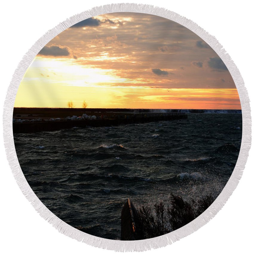 Round Beach Towel featuring the photograph 08 Sunset by Michael Frank Jr