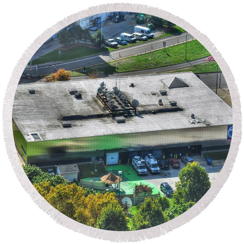 Round Beach Towel featuring the photograph 0014 Autumn Days Of Buffalo Ny Birds Eye by Michael Frank Jr