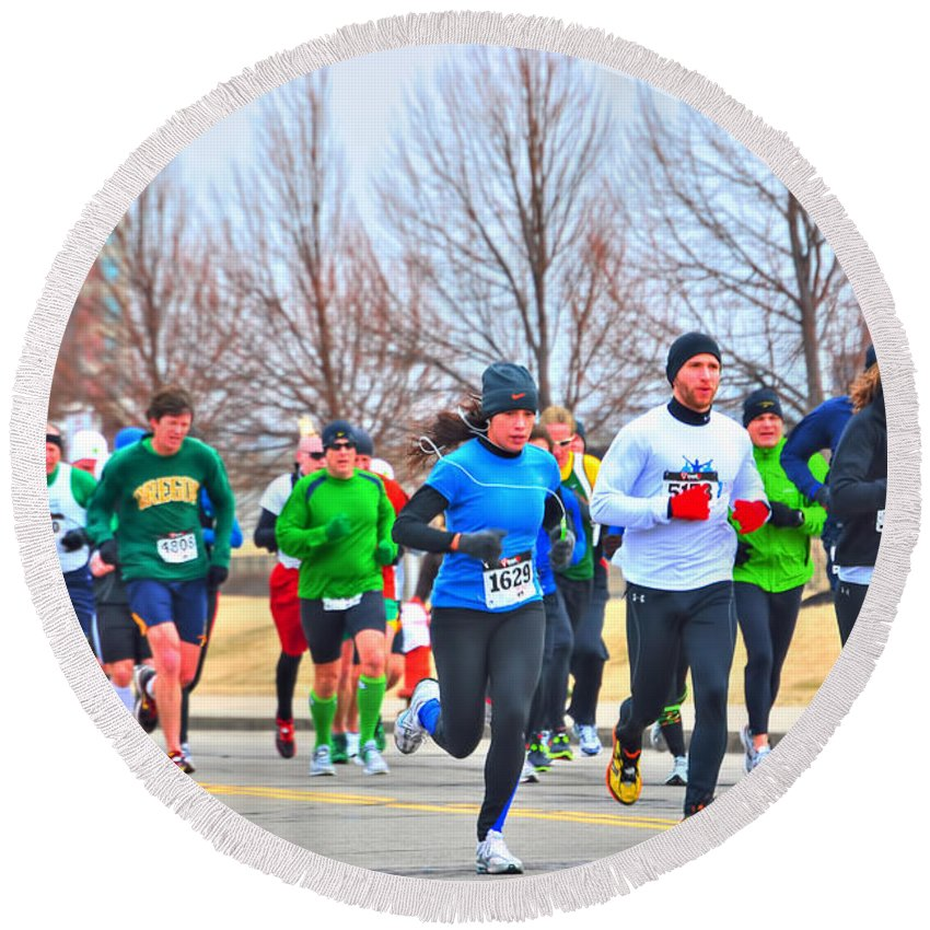 Round Beach Towel featuring the photograph 020 Shamrock Run Series by Michael Frank Jr
