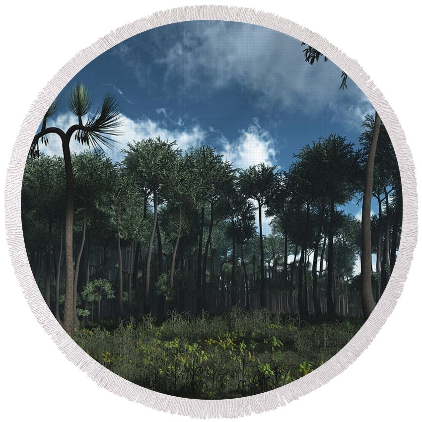 Earth Round Beach Towel featuring the digital art A Carboniferous Forest Of Midwestern by Walter Myers