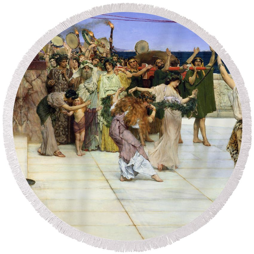 Dedication Round Beach Towel featuring the painting A Dedication To Bacchus by Sir Lawrence Alma-Tadema