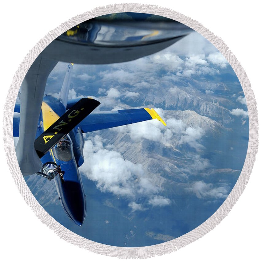 Horizontal Round Beach Towel featuring the photograph A Kc-135 Stratotanker Refuels An Fa-18 by Stocktrek Images