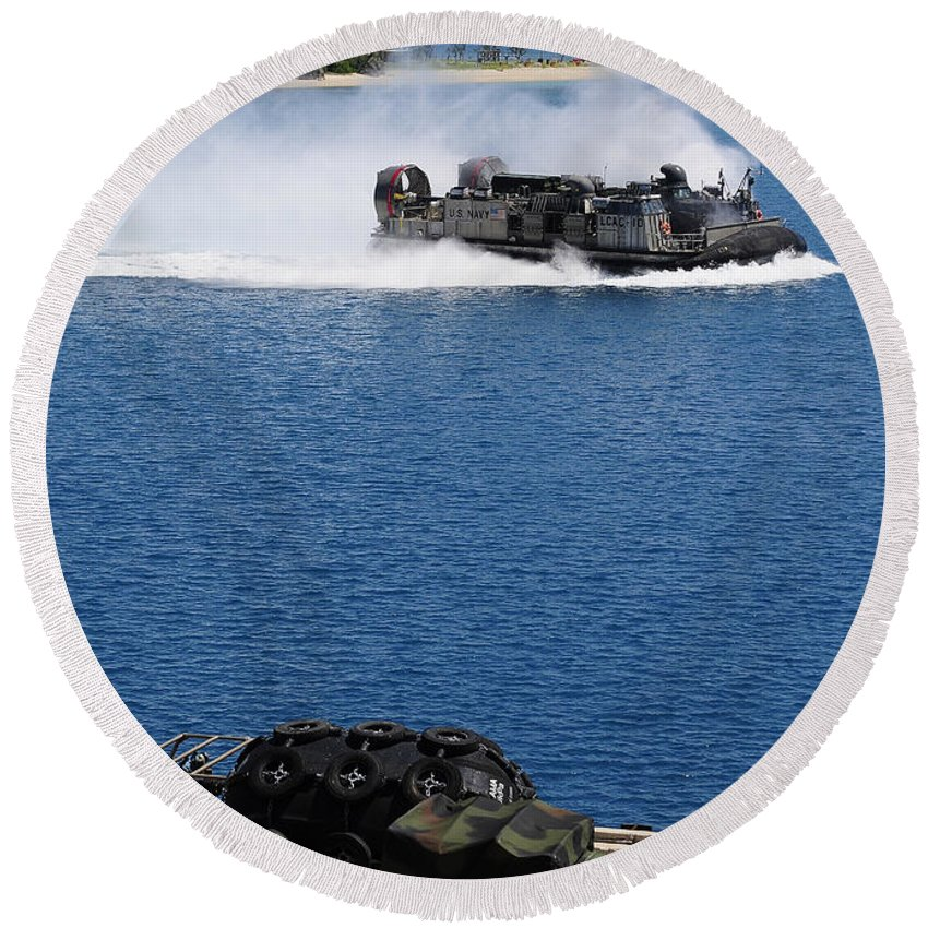 Us Navy Round Beach Towel featuring the photograph A Landing Craft Air Cushion Approaches by Stocktrek Images