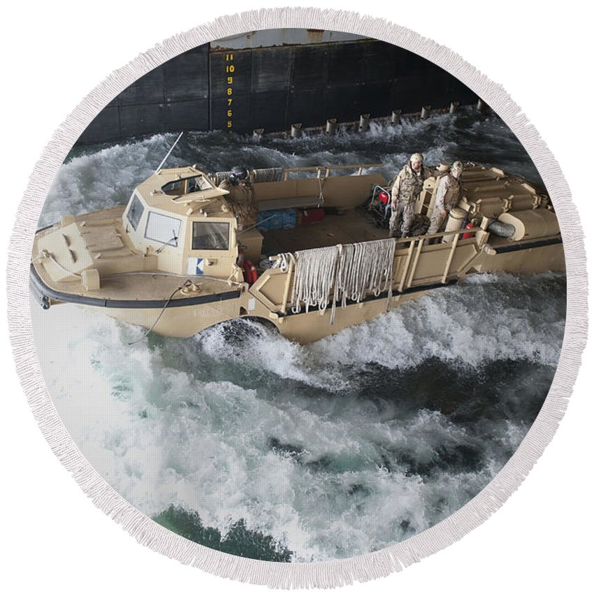 Warship Round Beach Towel featuring the photograph A Lighter Amphibious Re-supply Cargo by Stocktrek Images